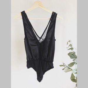 Pretty Little Things Lace Insert Bodysuit, Black